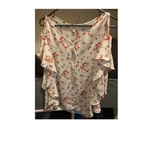 Tops - White floral off the shoulder shirt